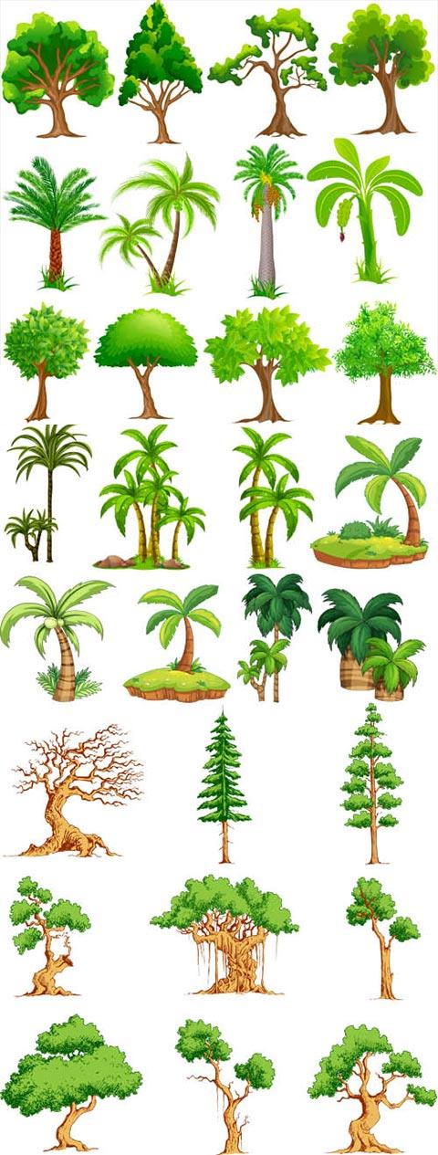 آیکن و المان درخت فانتزی کارتونی AI و TIF